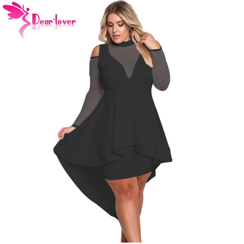 Dear Lover Long Sleeve Dress Autumn Big Ladies Party Robe Black Plus