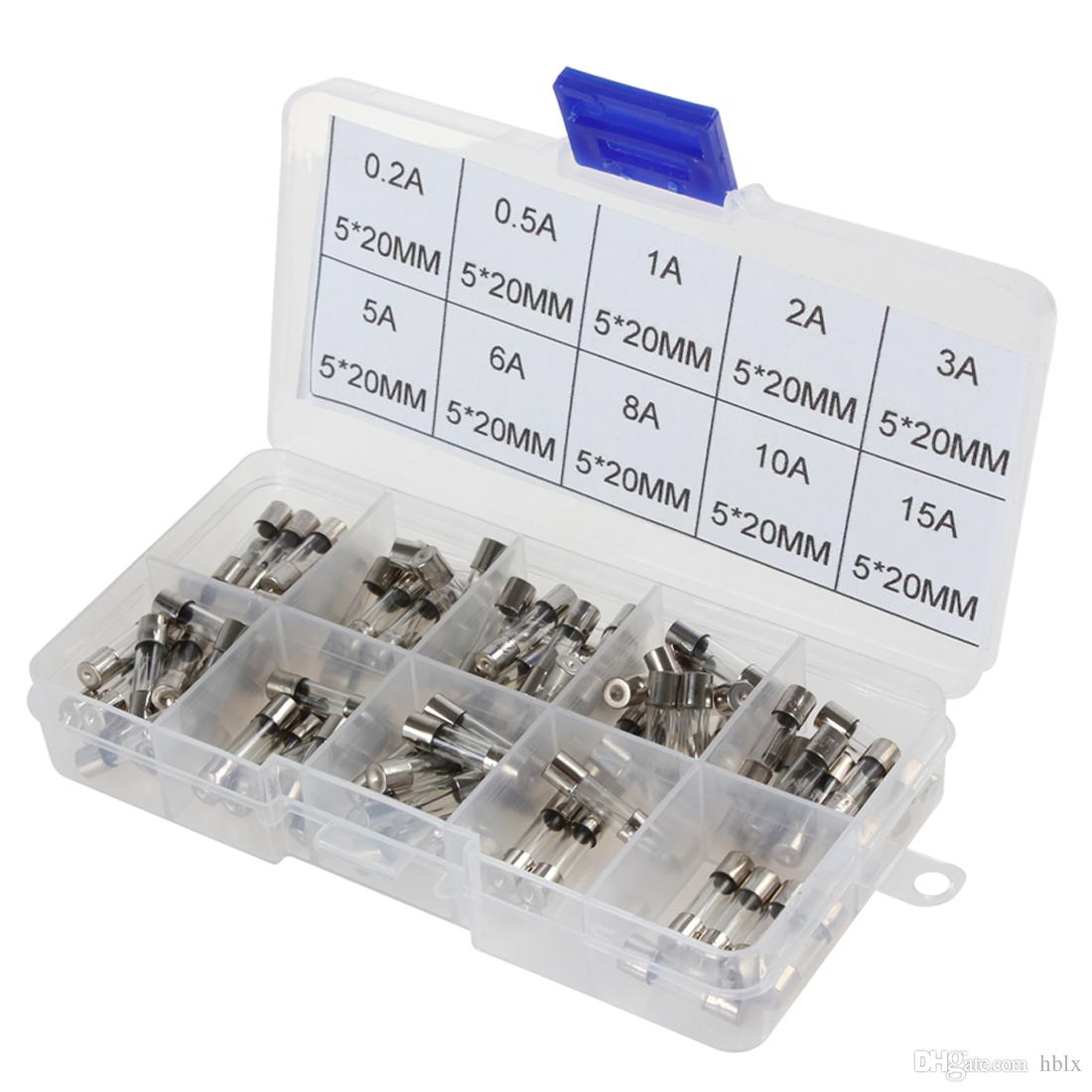 100 pz 5x20mm Veloce Quick Blow Glass Tube Fuse Assortimento 0.2A 0.5A 1A 2A 3A / 5A 6A 8A 10A 15A CEC_938