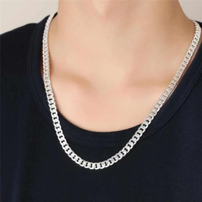 High Quality Polished Anti Allergic S925 Silver Plated Men Chain 6mm 18inches 46cm Necklace for Men Women