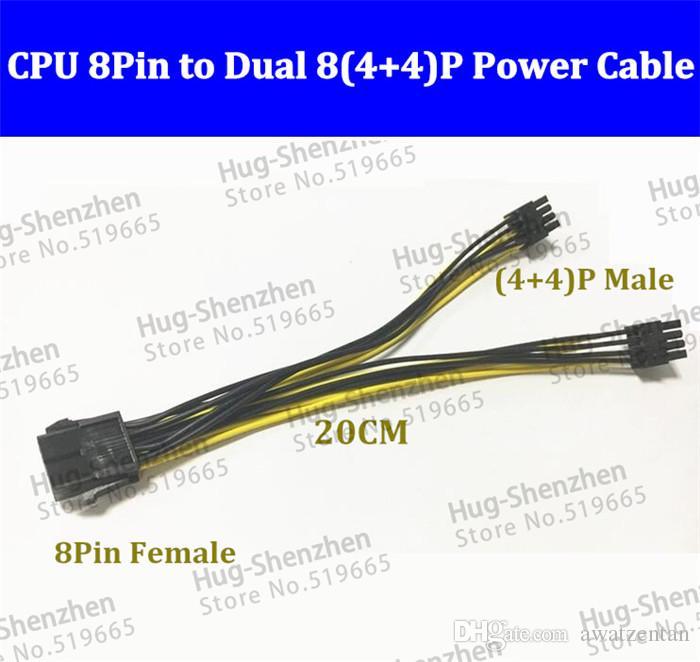 Großhandel Cpu 8pin 8p 1 Buchse Auf 4 + 4 Pin Stecker 1 Zu 2 ...