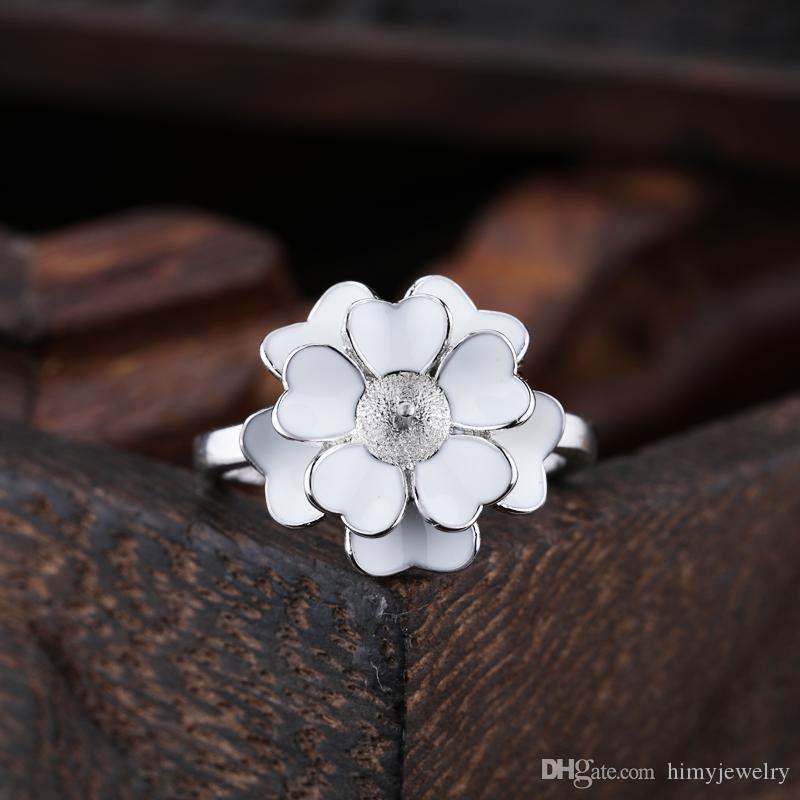 Real Sterling Silver 925 Cloisonne Enamel Engagement Wedding Ring Flower Pearl or Round Bead 5mm6mm7mm Semi Mount Women Fine Jewelry Setting