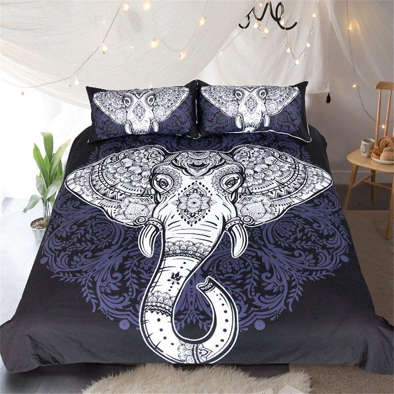 Wholesale Elephant Bedding Set Black Mandala Flower Comforter Set