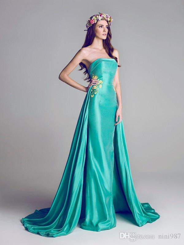 Echte Bilder Grüne Elie Saab 2016 Abendkleider Abnehmbare Zug Transparente Abendkleider Party Pageant Kleider Promi Prom Lange dress