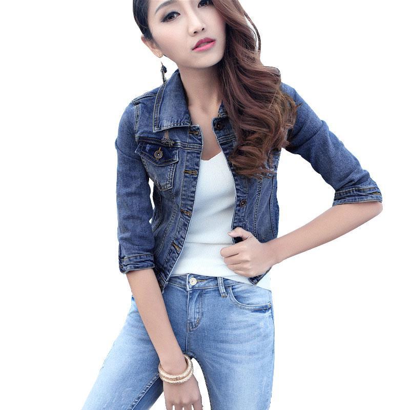 newest da8cf 06425 Giacca di jeans strappata all ingrosso per le donne 2016 Autunno jeans  giacca corta denim donne tre quarti manica camicetta top camicetta in denim