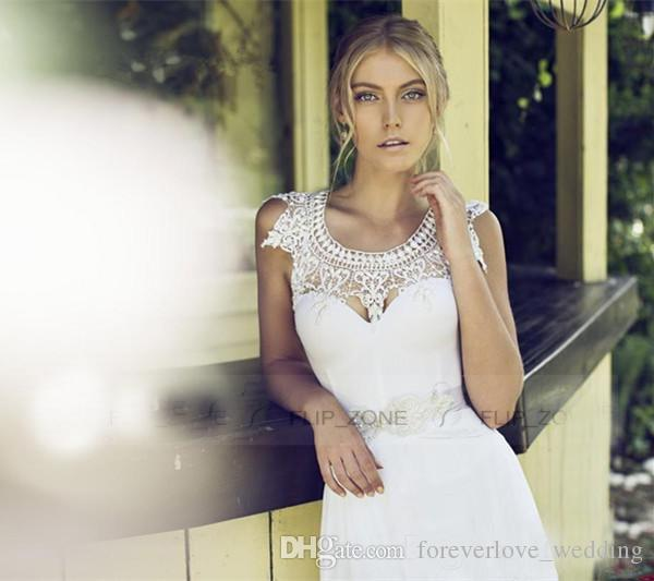 A-Line Wedding Dresses 2017 Lace Jewel Neck For Beach Wedding With Backless Ivory Chiffon Beaded Ribbon Cheap Long Bridal Gowns