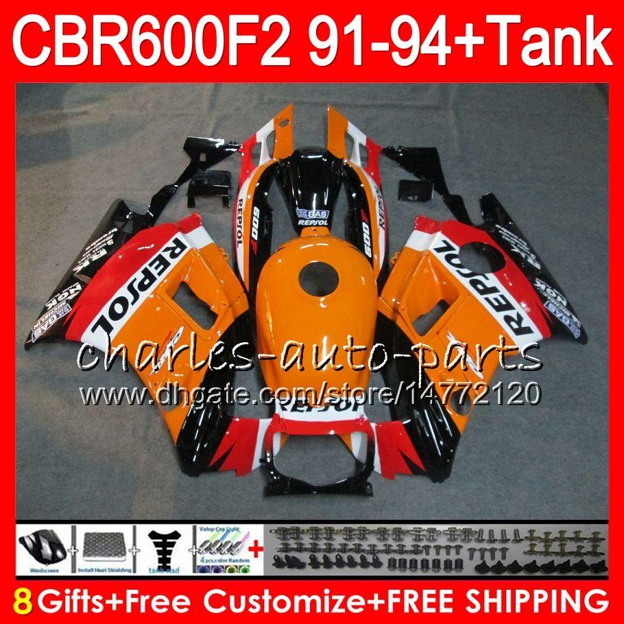 8 Regalos es para HONDA CBR600F2 91 92 93 94 CBR600RR FS 1HM2 CBR 600F2 600 F2 CBR600 F2 1991 1992 1993 1994 Carenado Repsol Naranja negro