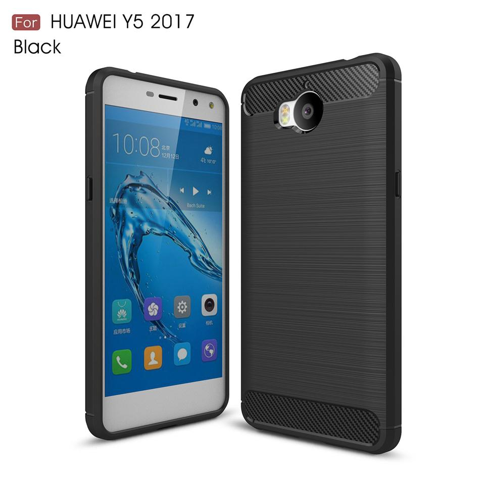 For Huawei Y5 2017 brushed design shockproof armor carbon fiber tpu phone  case for Huawei Y5 2017 case