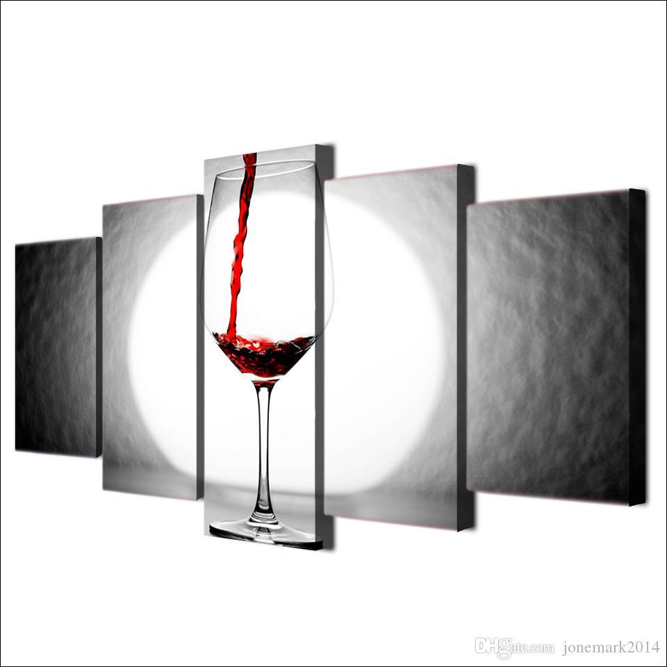 5 Adet / takım Çerçeveli HD Baskılı Şarap Cam Işık Ev Duvar Dekor Posteri Tuval Sanat Boyama Duvar Resimleri Modüler Boyama