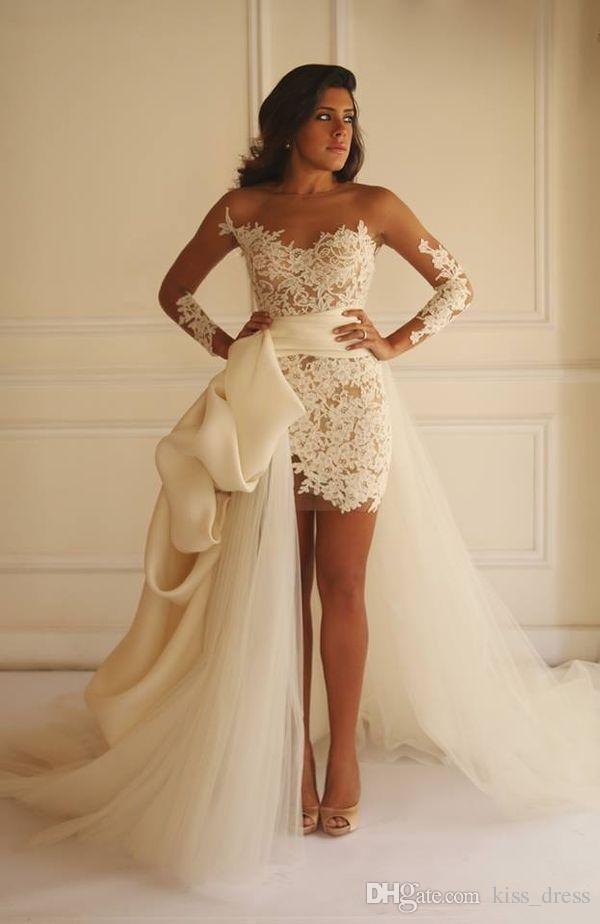 Hot Selling Short Sheath Lace Wedding Dresses With Detachable Train Applique Tulle Long Sleeve Bridal Gowns Vestidos De Noiva Custom W605 Column