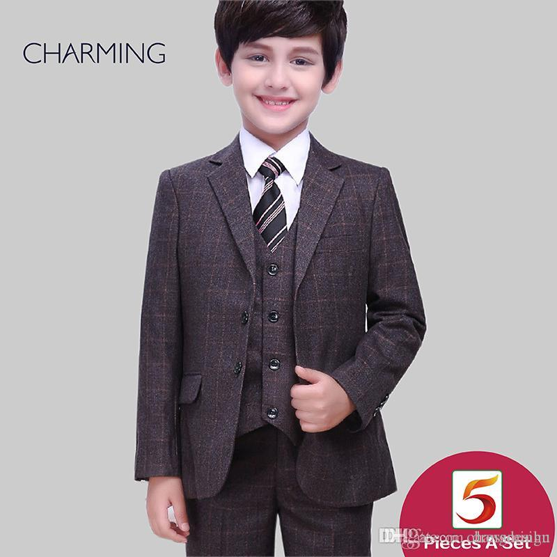 bbeb1e0ba Boys outfits Three piece suit Free shirts and bow ties Chocolate Plaid high  quality Baby boy suits Childerns suits Wedding suits for boys