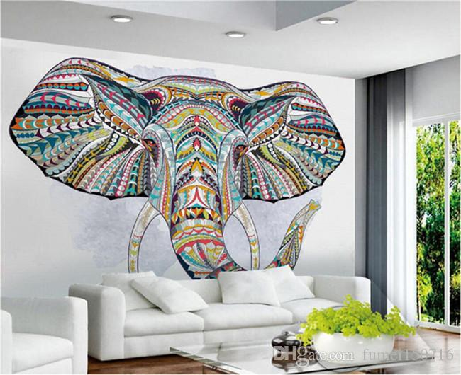 Hayvan Fil Fotoğraf Duvar 3D Özel Duvar Kağıdı Oturma Odası TV Backsplash için Minon Duvar Kağıtları Ev Sanat Duvar ...