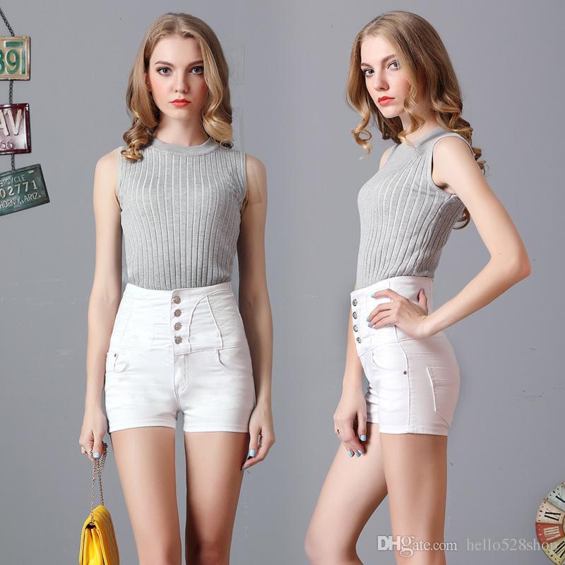 e009128f73 2019 Women Jean Shorts Korean Style White/Light Blue/Dark Blue Waisted Jean  Single Row Button Female Thin Waist Elastic Short Pants From Hello528shop,  ...