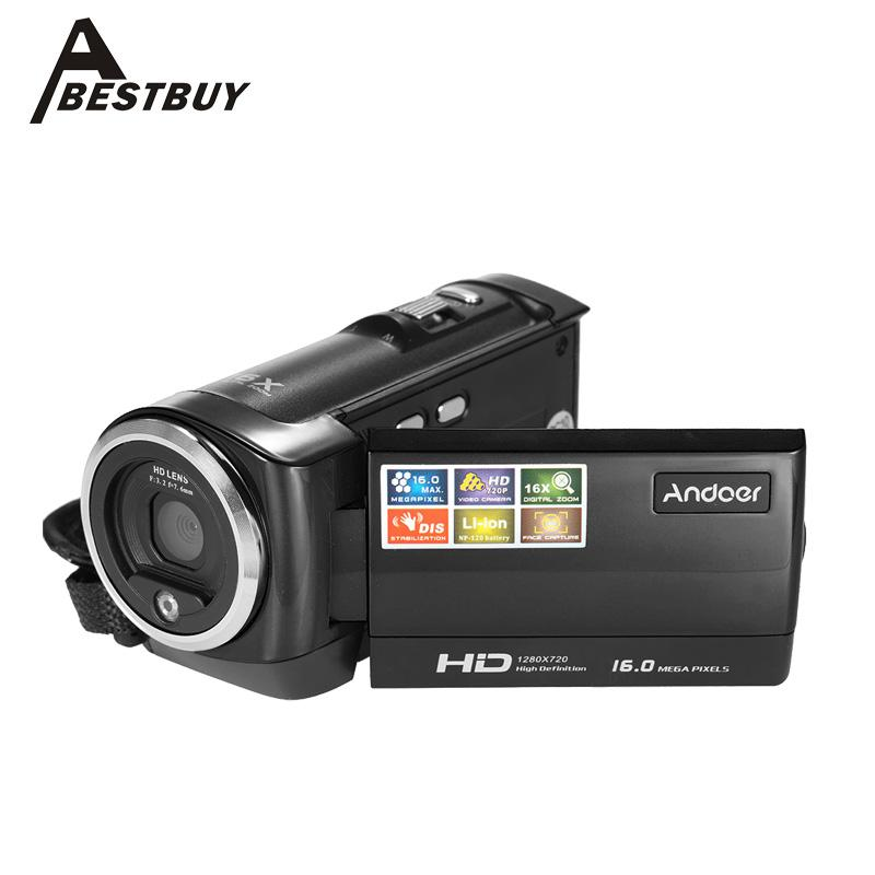 Venta al por mayor-Andoer Mini portátil 720P 30FPS HD Cámara digital 2.7 '' Pantalla LCD 16MP 16X Zoom digital Anti-shake Grabador de video DV Videocámara