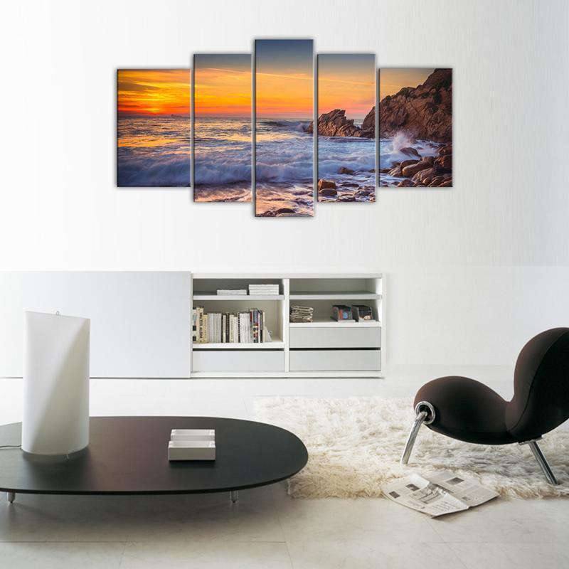 5 Panels Seascape Canvas Painting Wall Art Sunset Sea View Painting