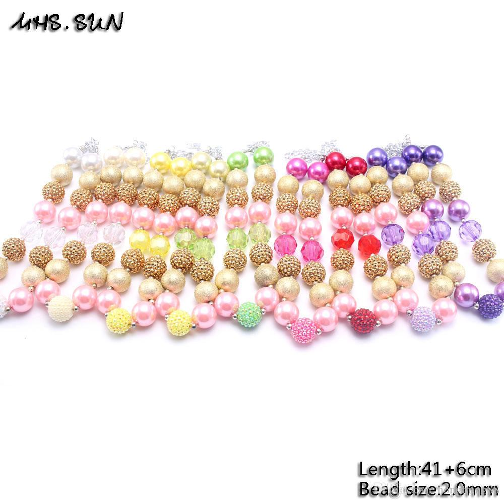 MHS.SUN Neueste Bunte Mode Blume Halskette Geburtstagsfeier Geschenk Für Kleinkinder Mädchen Perlen Bubblegum Baby Kinder Chunky Halskette Schmuck
