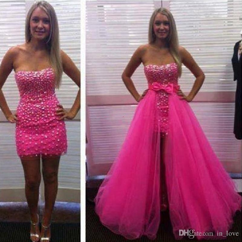 Prom Dress With Detachable Train: Removable Skirt Prom Dresses Hotpink Diamonds Bow Tulle