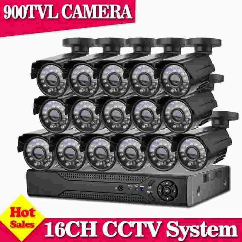 Home 16CH CCTV Security Camera System 16 channel DVR 900TVL Outdoor Day Night IR Camera DIY Kit Color Video Surveillance System