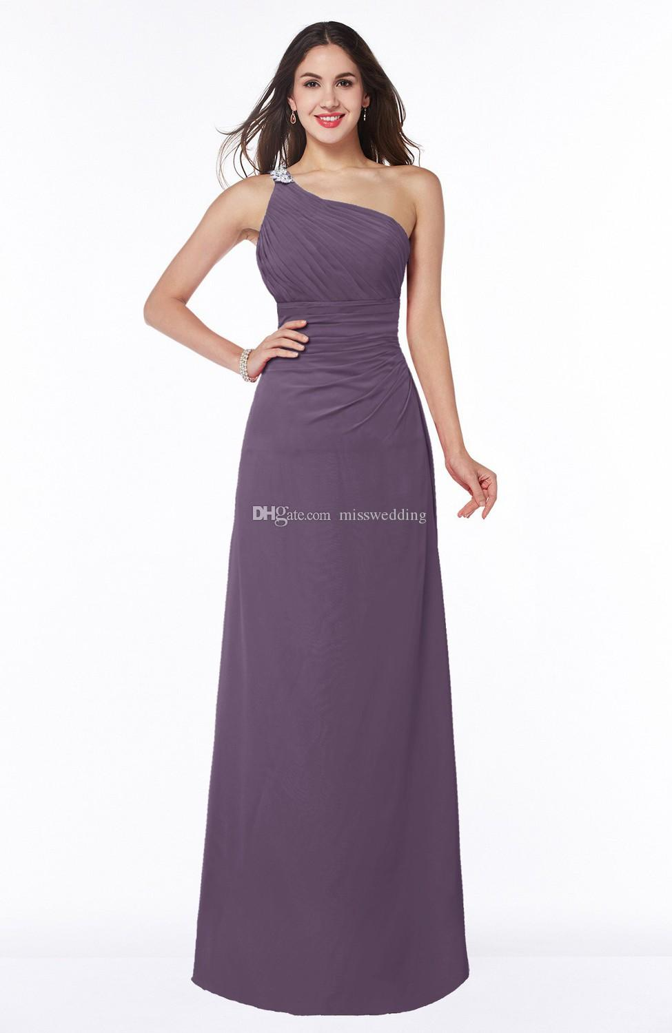Latest Chiffon Bridesmaid One Shoulder Dress Pleated Beaded Strap Gown For  Bridesmaid Floor Length Good Quality Periwinkle Bridesmaid Dresses Plus  Size ... ed3e9c4516d2