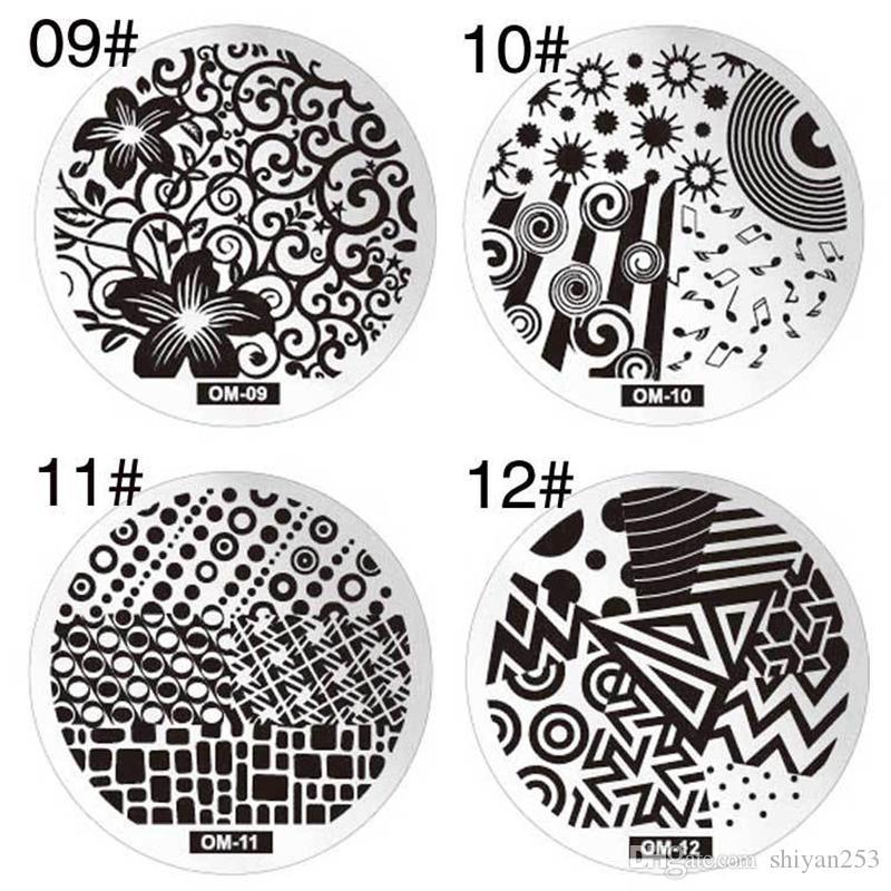 60 estilo 3D Diseño de Imagen de Flor Impresión Polaca Sello Plantilla Nail Art Sellado de Placas de Acero Inoxidable Plantillas de Manicura Para Uñas