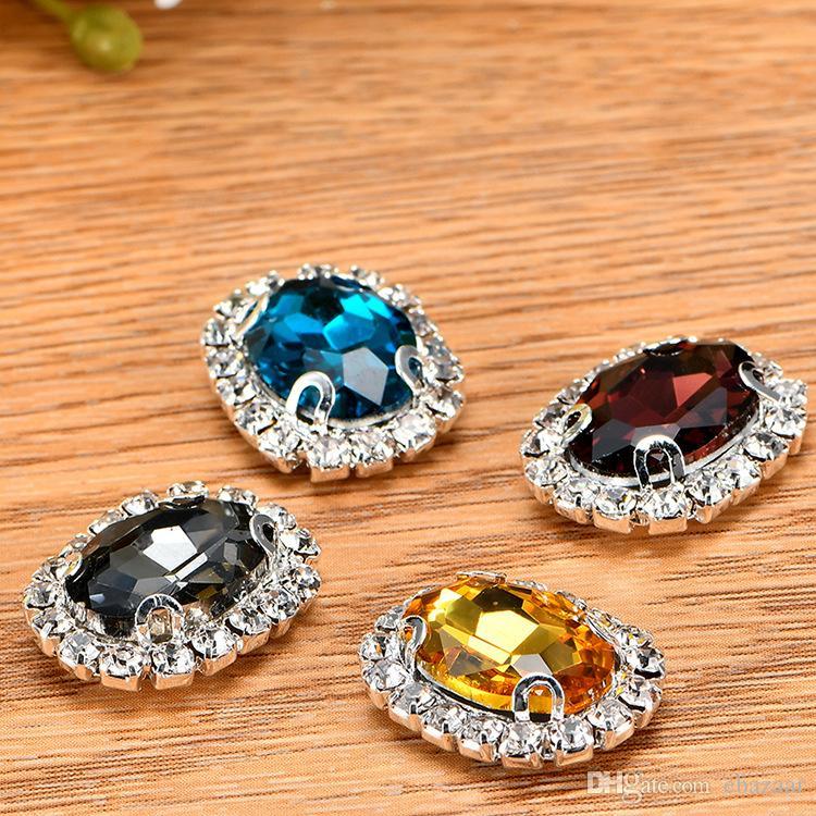 50 pçs / lote Cristal De Vidro Oval Costurar Em Strass Com Garra DIY Botões de Cristal Jóias Acessórios 13x18mm