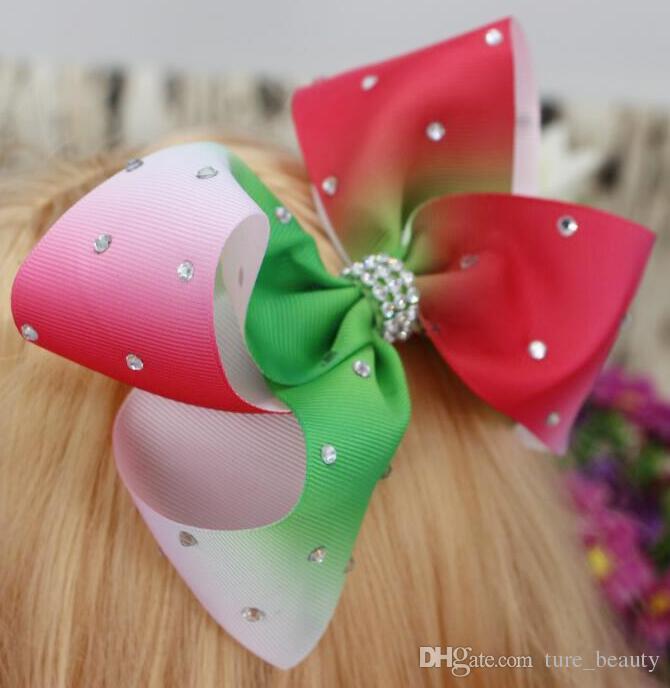 Clipe de arco de cabelo da fita do arco-íris de Ombre 6 polegadas do cabelo de strass grande /