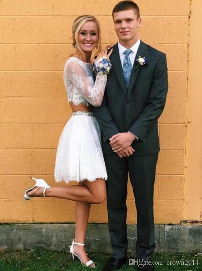 2019 Two Piece Long Sleeves White Lace Prom Dress with Beading Sheer Jewel Short A-line Zipper Back Mini Evening Dresses Cheap