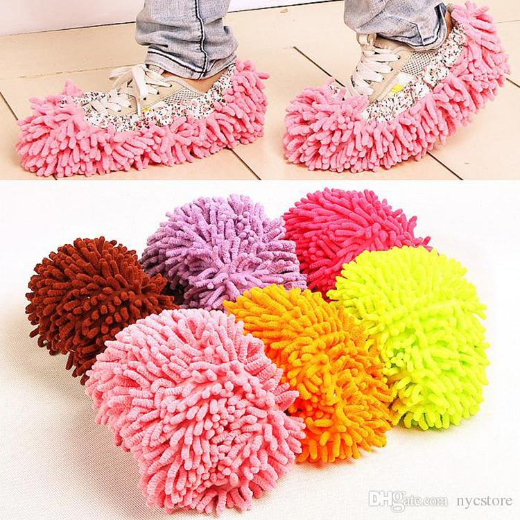 DHL Multifunctional Chenille Micro Fiber Shoe Covers Cleaning Slippers Lazy Drag Shoes Mop Caps Household Tools
