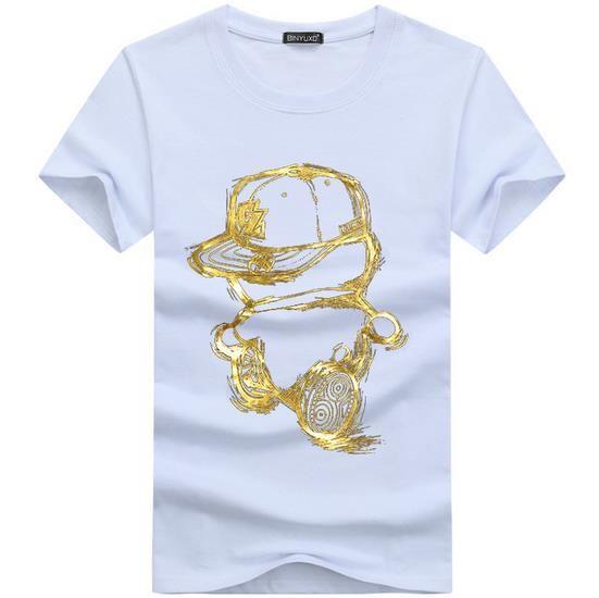 Camisas dos homens T Moda 2016 Verão Casual Patchwork coroa impressão Camisa Dos Homens Slim Fit Mens T-shirt Plus Size S-5XL Frete Grátis