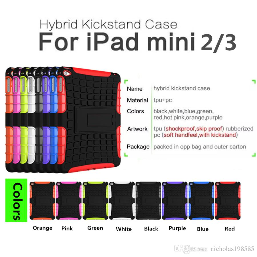 Defender Heavy-Duty Case Back Military Cover Shockproof Robot Cases With Stand Dirt Shock For iPad mini 2 3 Hybrid Robot Case