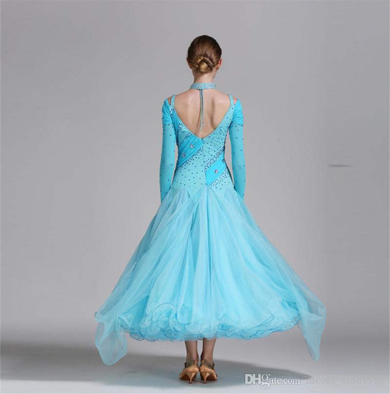 Neuer blauer Erwachsener / Mädchen-Ballsaal-Tanz-Kleid-moderner Walzer-Standardwettbewerb-Praxis-Tanz-Kleid-reizvolle trägerlose Rhinestone-lange Hülsen-Kleid