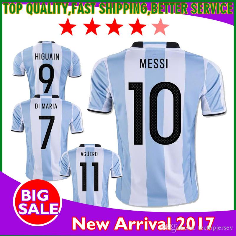 aa87361ae56 2019 2017 New Argentina World Cup Soccer Jersey 17 18 MESSI Home DI MARIA  AGUERO Thai Quality Argentina Football Shirts In Stock From Tectopjersey