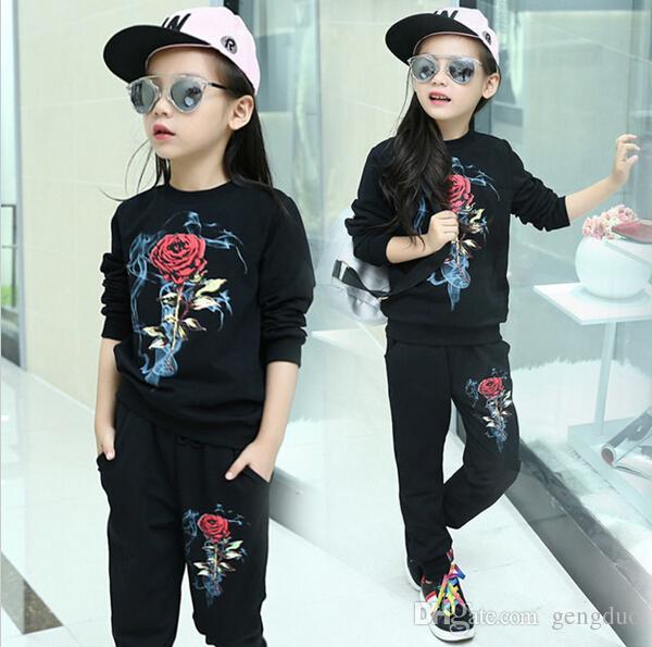 87b86184c86 2019 Kids Clothes Girl Set Baby Girls Spring Coat Jacket Pants Sets Fashion  Children Rose Flower Clothing Sportswear Sports Suit Free Shipp From  Gengduo, ...