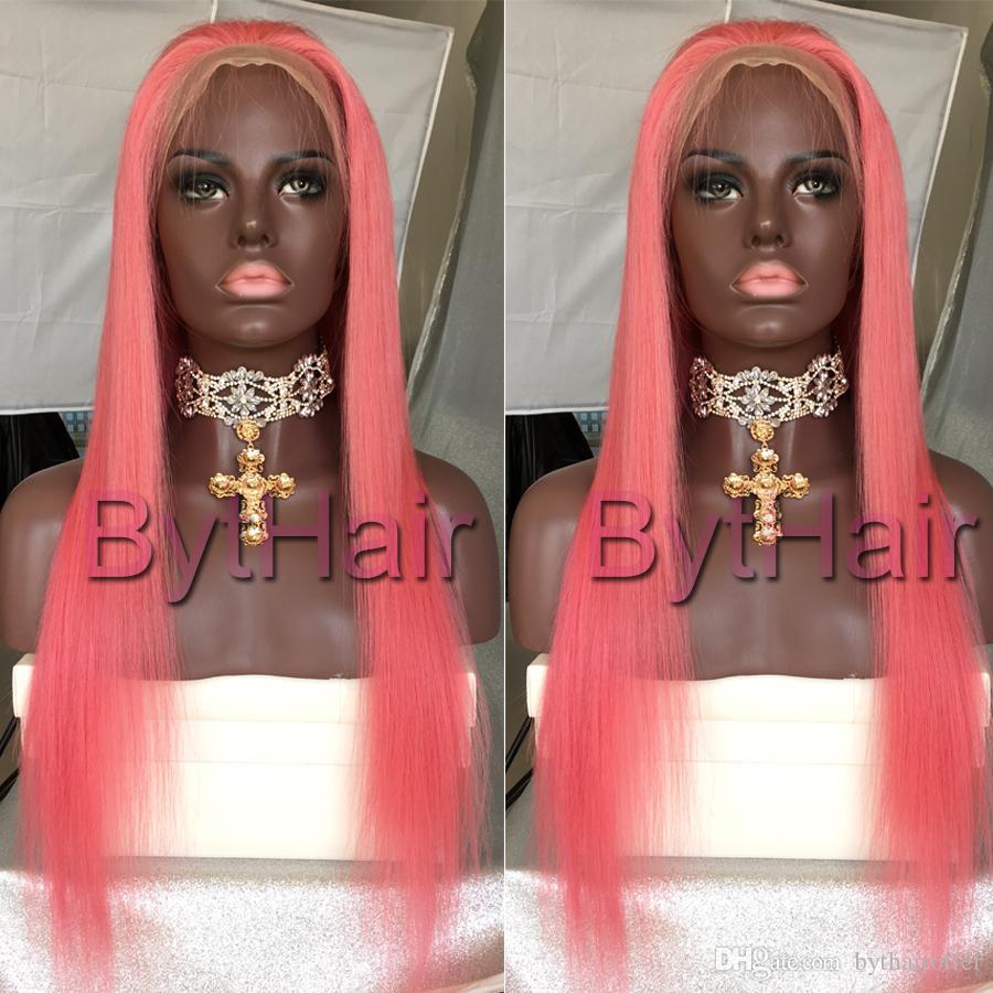 Bashair Pure Rosa Glueless Volle Spitze Menschenhaarperücken 130 Dichte Seidige Gerade Brasilianische Jungfrau Menschliches Haar Lace Front Perücke mit Babyhaar