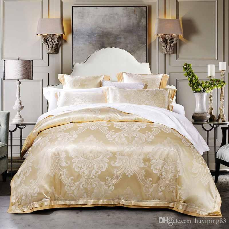 Popular Beige Gold Jacquard Satin Bedding Sets Luxury Tribute Silk Duvet Cover King Queen Size Bed Set Bed Linen Bedclothes Cotton King Sheet Sets Masculine Bedding Style - New luxury king bedding Fresh