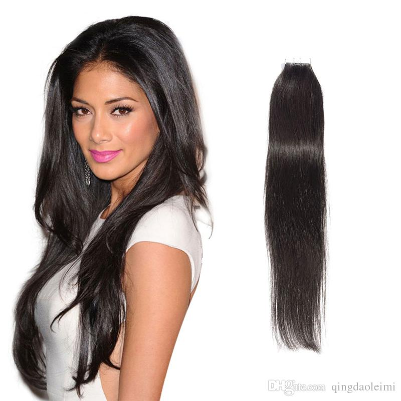 Best Selling Remy Human Hair Extensions Pu Skin Weft Silky Straight