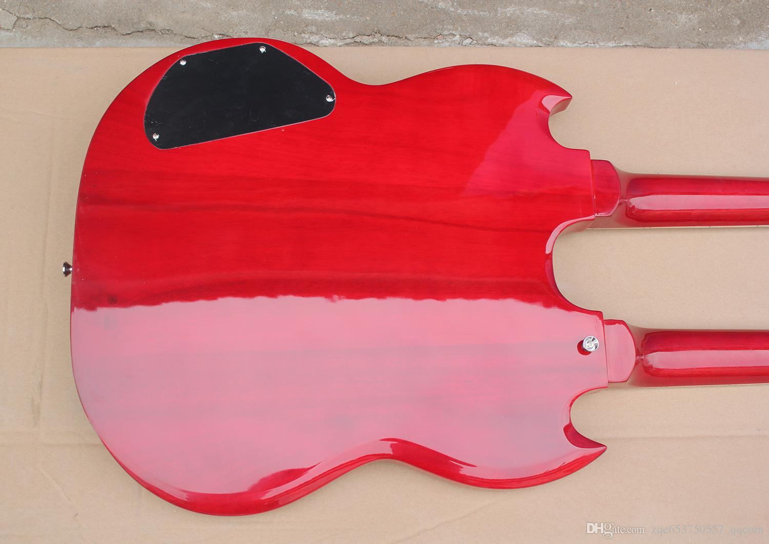 The Wholesale-2015 Hot Sale Customized Red Two-neck Electric Guitar with 12 Strings and 6 Strings Respectively