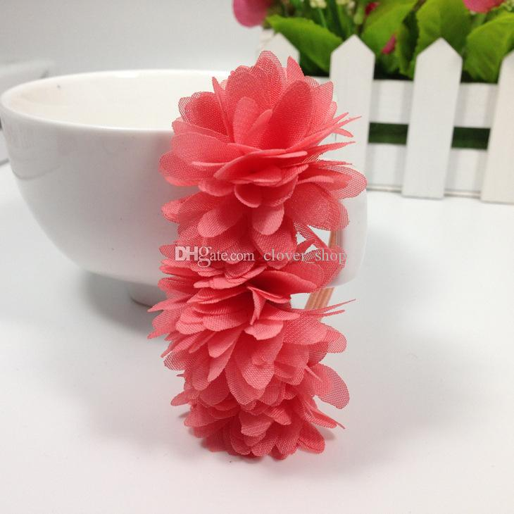 Chiffon Flowers Children Baby Girls Headwear Hair Accessories Rubber Bands Barrettes Girl Bow Hair Ropes Wholesale Boutique
