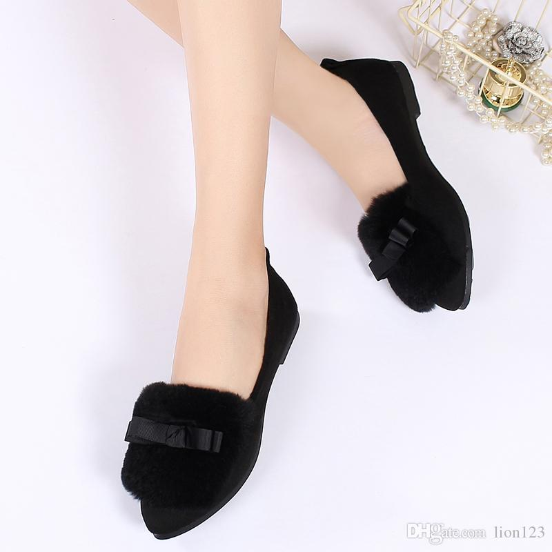 ec61dc7b815633 2018 Plus Size Velvet Genuine Leather Rabbit Fur Wool Shoes ...