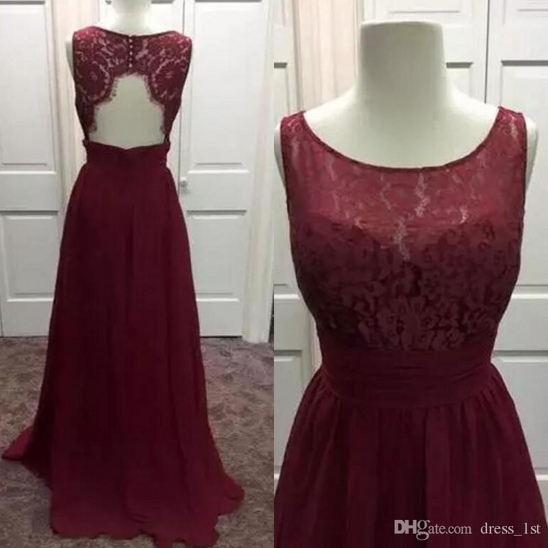 Burgundy Lace And Chiffon Bridesmaid Dresses Long 2017 Cheap Cut Out Back Jewel Maid Of Honor Gowns Custom Made China EN102013