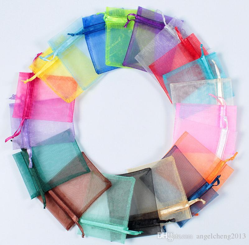 Rastgele renk 500 Adet 7 * 9 cm 2.8x3.5 inç Sırf İpli Organze Takı Torbalar Düğün Noel Favor Hediye Çanta