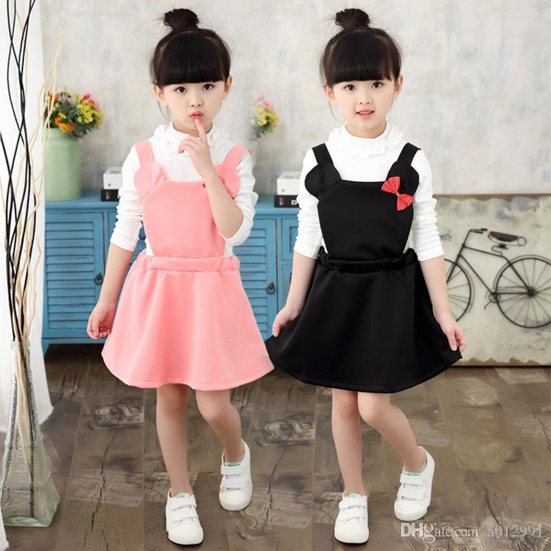 DHL Free 2017 Korean Lolita Style Baby Girls Overalls dress Pink Black Sweet cute Bowknot dress Mini Mouse with Red Bowknot Suspenders