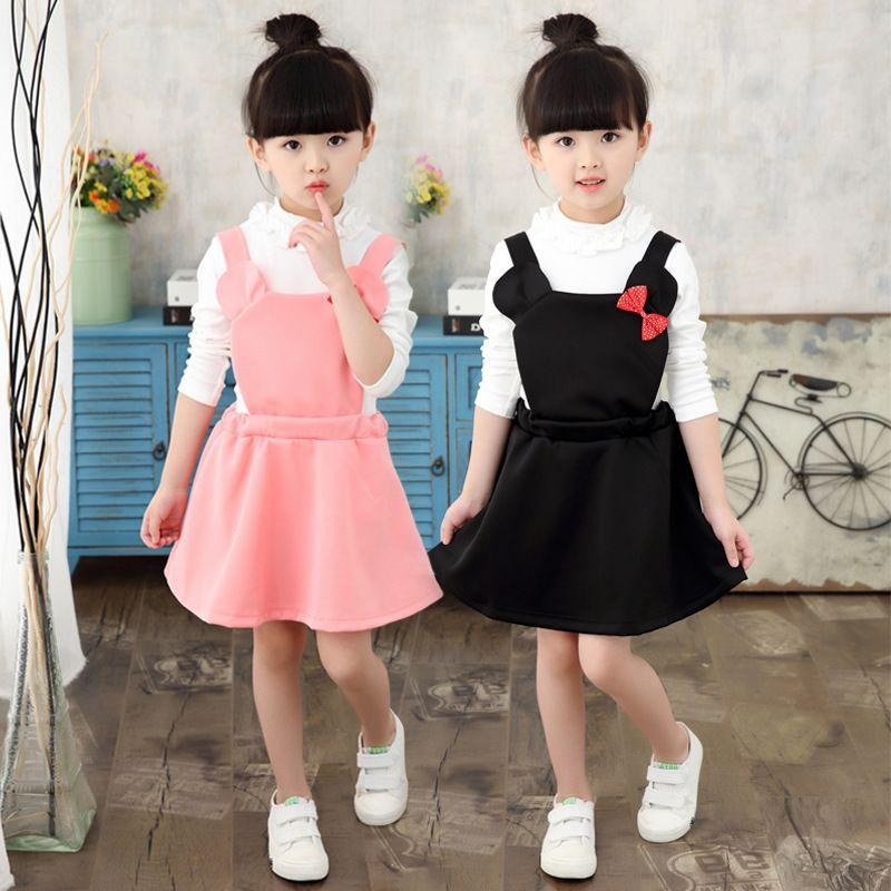 DHL Livre 2017 Coreano Estilo Lolita Meninas Do Bebê Macacão vestido Rosa Preto Doce bonito Bowknot vestido Mini Mouse com Red Bowknot Suspensórios