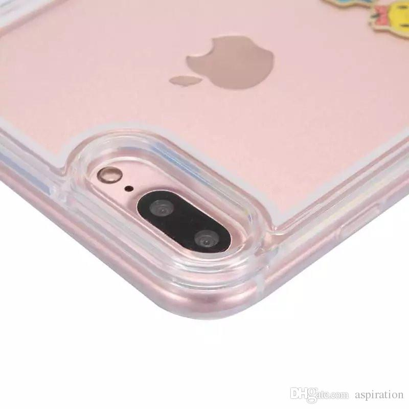 Liquid Case for Apple iPhone 6 6S 7 Plus Clear Cute Design Floating Rubber Swimming Couple Dynamic Flowing Ducks Hard Back Cover