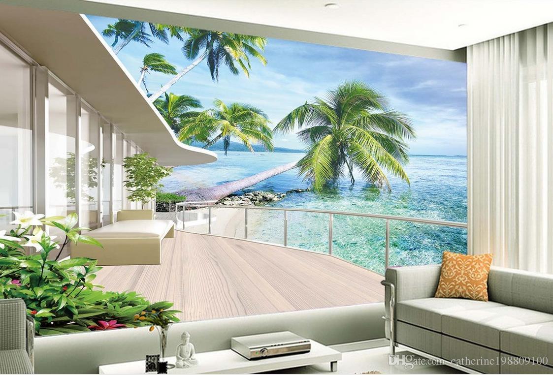 Hohe Qualität Costom Villa Balkon Landschaft TV Wand Hintergrund Wand 3D Wallpaper 3D-Tapeten für tv Hintergrund