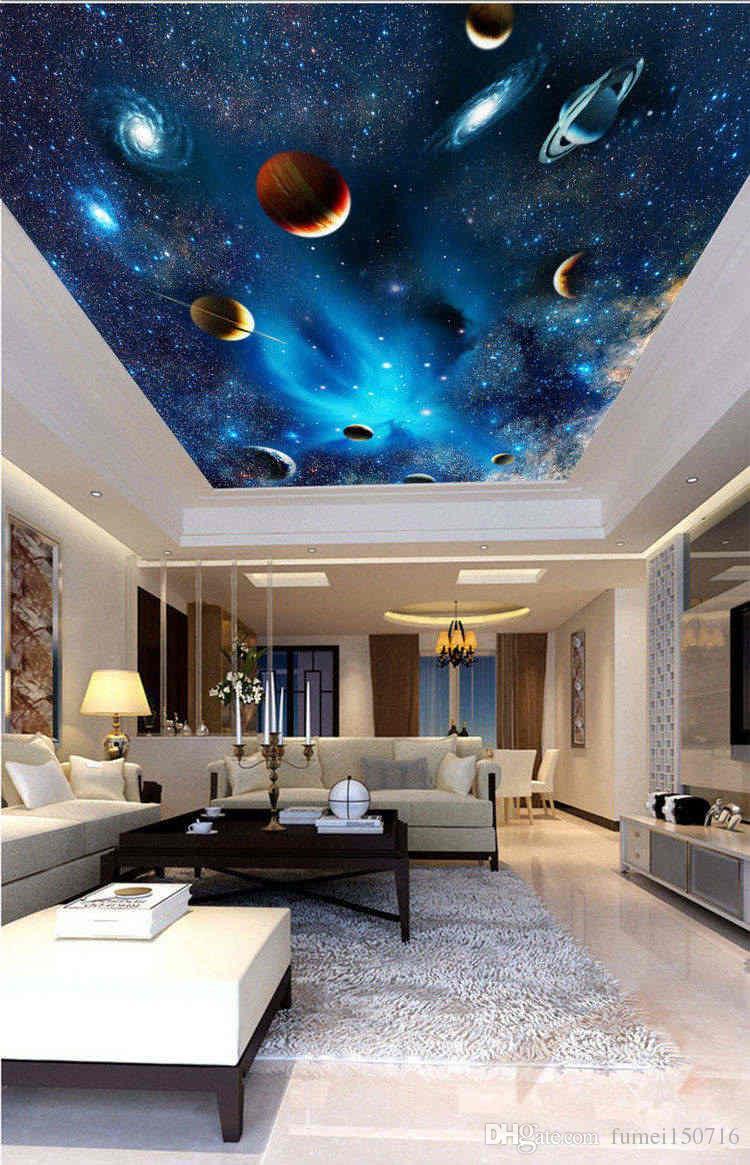 Personalizzato 3D Space Wallpaper murale Astronomico Galaxy Planet Paesaggio soffitto sfondo della carta della decorazione della parete di camera di vita Tappezzerie