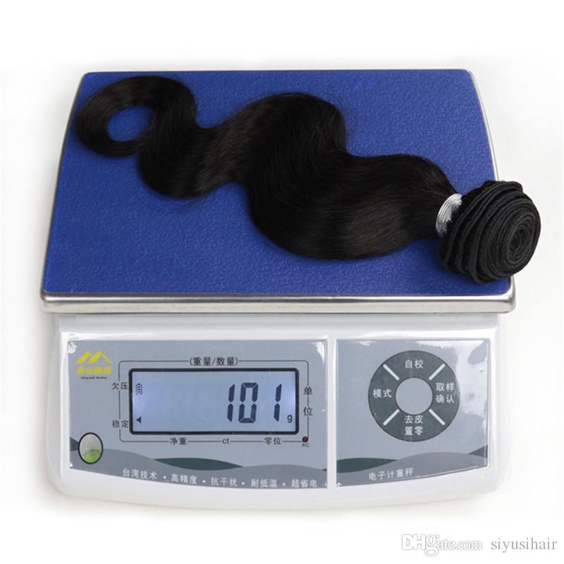 بيرو الماليزية الهندي البرازيلي الجسم موجة عذراء الشعر مع إغلاق الشعر البشري حزمة الدانتيل إغلاق 3 أو 4 حزم مع إغلاق