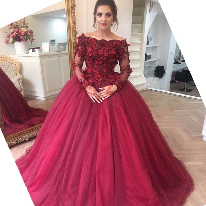 Gorgeous Burgundy Ball Gown Wedding Dresses Illusion Bateau Neck 3d ...