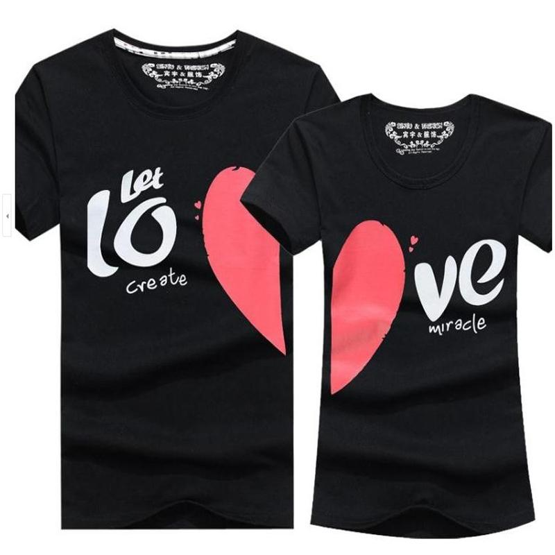 Wholesale Couple Clothes Men   Women Heart LOVE Print T Shirts Cotton Short  Sleeve Lovers T Shirt For Couples Camisetas Summer Unisex Tops Shopping T  Shirts ... 002609a2811