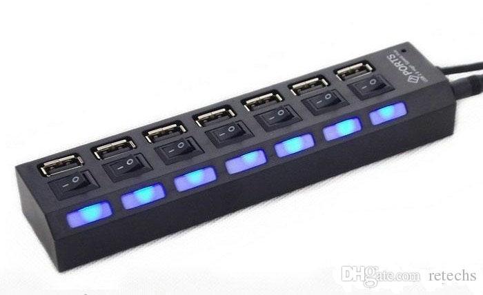 Адаптер постоянного тока 7 портов USB HUB Высокоскоростной адаптер USB 2.0 Hub Выключатель питания для портативного компьютера с розничной упаковкой DHL