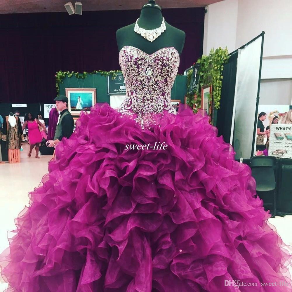 Kristal Boncuklu Sevgiliye Korse Korse Organze Ruffles Abiye Quinceanera elbise 2020 Bordo Vestidos De 15 Anos Tatlı 16 Balo Abiye